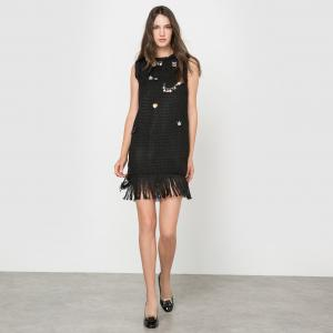 Платье без рукавов с бахромой MOLLY BRACKEN. Цвет: черный