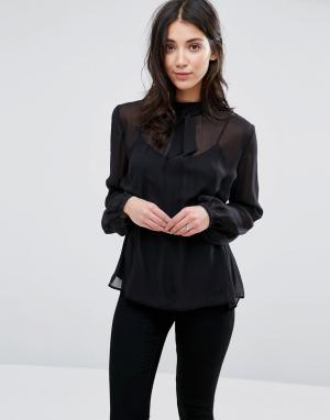 Greylin Прозрачная шелковая блузка с завязкой у горловины Anissa. Цвет: черный