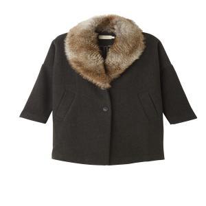 Пальто оверсайз с искусственным мехом SEE U SOON. Цвет: хаки темный/мех бежевый