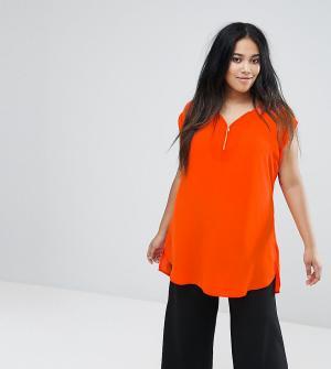 New Look Plus Туника с молнией Curve. Цвет: оранжевый