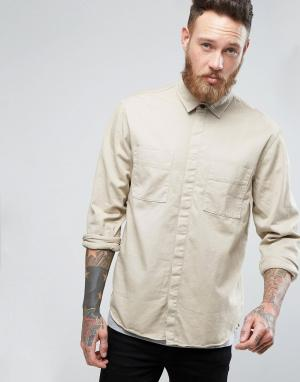 Nudie Jeans Рубашка с длинными рукавами и карманами Co Calle. Цвет: бежевый