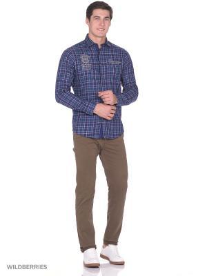 Рубашка Boston Brothers. Цвет: зеленый, белый, темно-синий