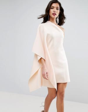 ASOS Платье мини на одно плечо с рукавом-кейпом PREMIUM. Цвет: кремовый