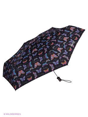 Зонты Isotoner. Цвет: голубой, оранжевый, фиолетовый, черный