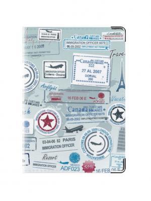 Обложка для паспорта Отметки путешественника Tina Bolotina. Цвет: голубой