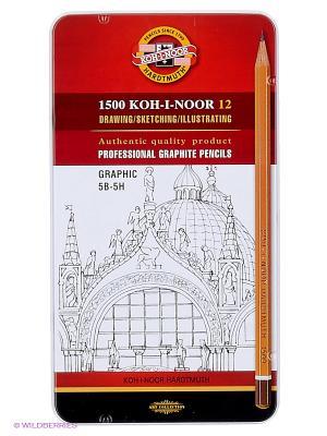 Набор карандашей чернографитных Graphic (12 штук) Koh-i-Noor. Цвет: красный