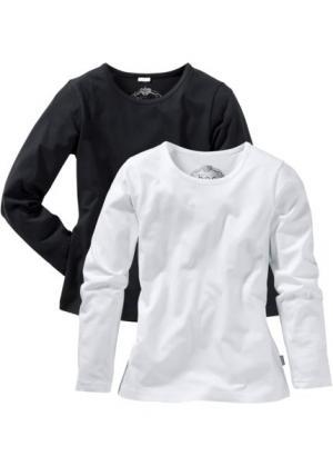 Однотонная футболка с длинными рукавами (2 шт.) (черный/белый) bonprix. Цвет: черный/белый