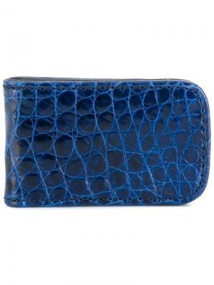 Зажим для денег с эффектом крокодиловой кожи Jason Briggs. Цвет: синий