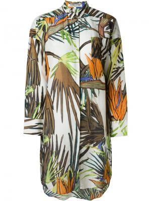 Свободное платье-рубашка с принтом Paradise Tree Bedouin Valentine Gauthier. Цвет: коричневый