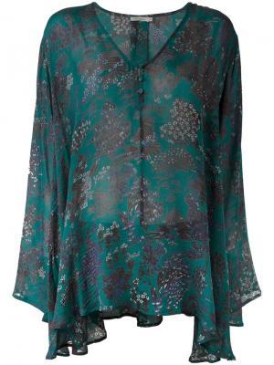 Блузка с цветочным принтом Mes Demoiselles. Цвет: синий