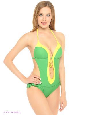 Слитный купальник FIANETA. Цвет: зеленый, желтый