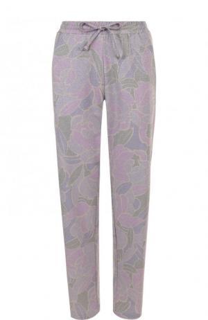 Укороченные брюки с принтом и эластичным поясом Dries Van Noten. Цвет: сиреневый