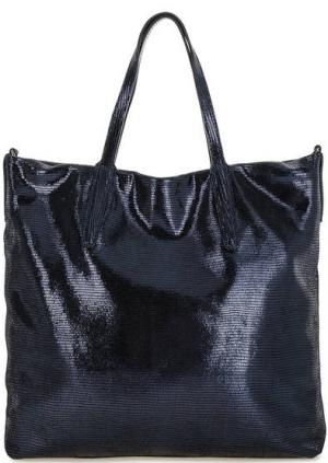 Вместительная синяя сумка из натуральной кожи Gianni Chiarini. Цвет: синий
