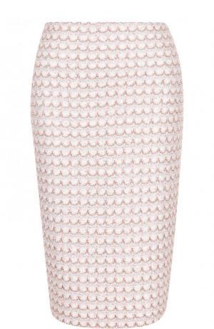 Буклированная юбка-карандаш с разрезом St. John. Цвет: бежевый