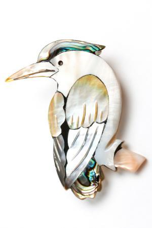 Брошь Птичка FRANSUA ARDY. Цвет: белый, перламутровый, черный