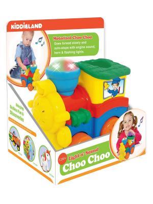 Развивающая игрушка  Паровозик со слоненком Kiddieland. Цвет: зеленый, красный, желтый