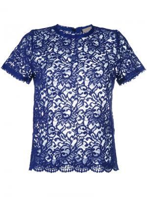 Кружевная футболка Erika Cavallini. Цвет: синий