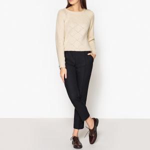 Пуловер из оригинального трикотажа с пуговицами сзади MALANG SESSUN. Цвет: экрю