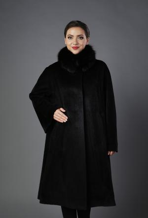 Черное пальто А-силуэта из шерсти ламы Heresis. Цвет: черный