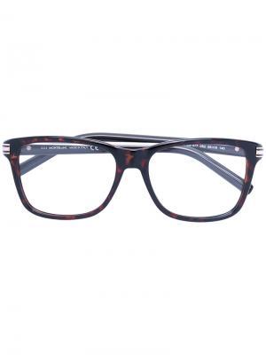 Очки с квадратной оправой Montblanc. Цвет: коричневый