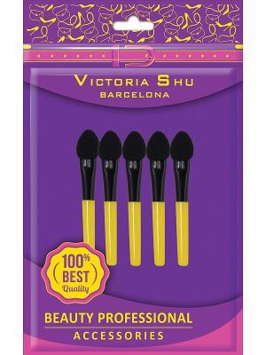 Набор аппликаторов для нанесения теней, 5шт Victoria Shu. Цвет: черный, желтый