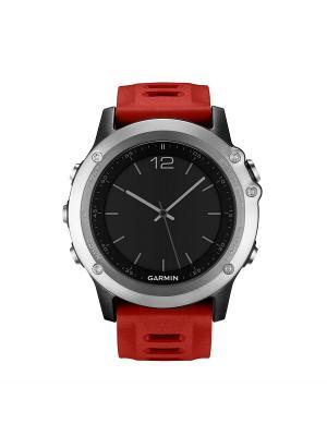 Умные часы Fenix 3 серебряный с красным ремешком GARMIN. Цвет: серебристый