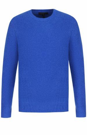Шерстяной однотонный свитер Rag&Bone. Цвет: синий