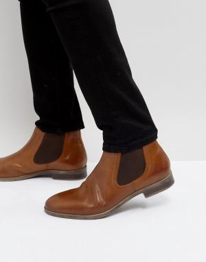 Pier One Светло-коричневые кожаные ботинки челси. Цвет: рыжий