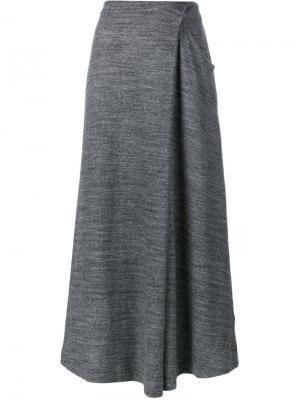 Асимметричная юбка с запахом 1205. Цвет: серый