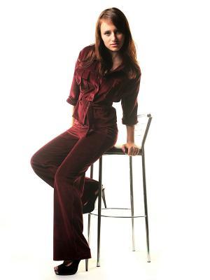 Велюровый костюм Тефия. Цвет: бордовый