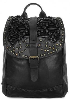 Кожаный рюкзак с металлическим декором Taschendieb. Цвет: черный