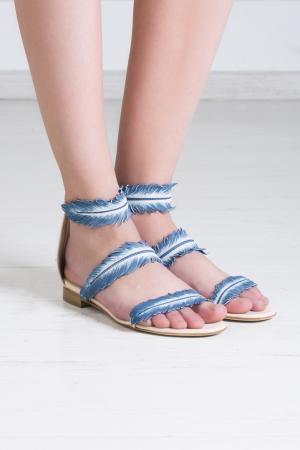 Кожаные сандалии Oscar de la Renta. Цвет: кремовый, голубой