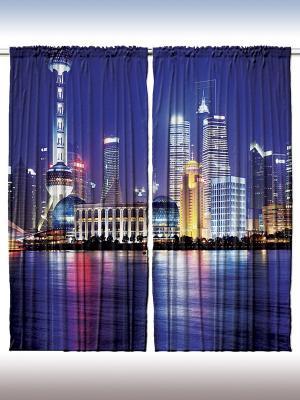 Плотные фотошторы Вечер в мировых столицах, 290*265 см Magic Lady. Цвет: темно-синий, фиолетовый