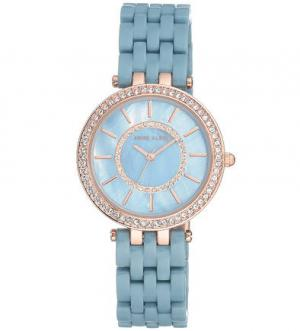 Часы с синим браслетом и декоративной отделкой Anne Klein