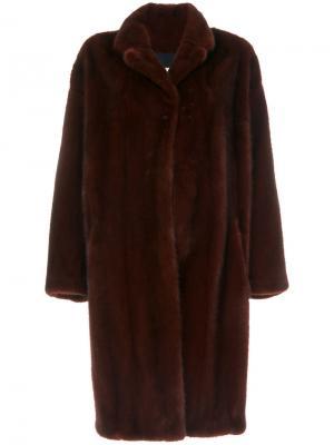 Свободное пальто из меха норки Sprung Frères. Цвет: красный