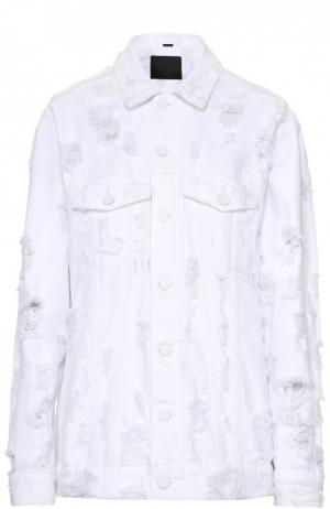 Джинсовая куртка свободного кроя с потертостями Denim X Alexander Wang. Цвет: белый