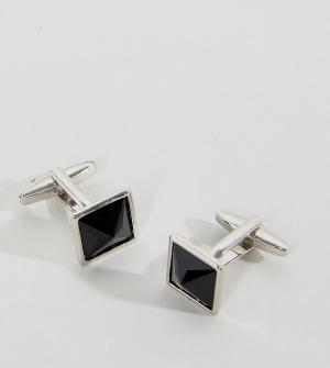 DesignB London Квадратные запонки и уголки для воротника эксклюзивно ASOS. Цвет: черный