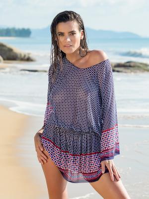 Туника пляжная для женщин Charmante. Цвет: синий, белый, красный