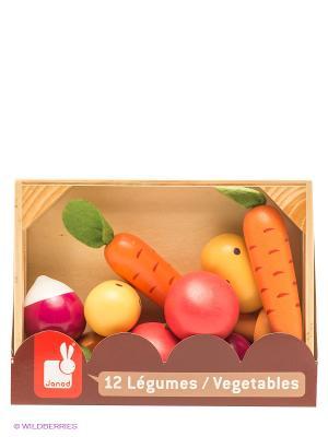 Набор овощей в ящике, 12 элементов Janod. Цвет: оранжевый