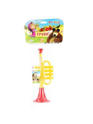 Труба Играем Вместе Маша и Медведь. Цвет: желтый, красный
