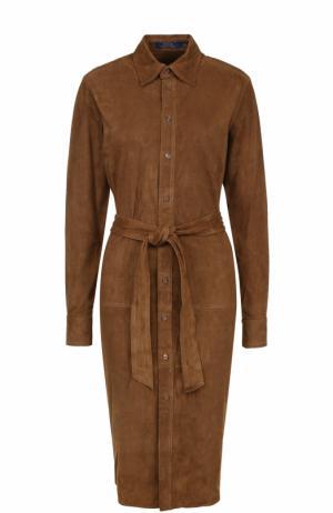 Замшевое платье-рубашка с поясом Polo Ralph Lauren. Цвет: коричневый