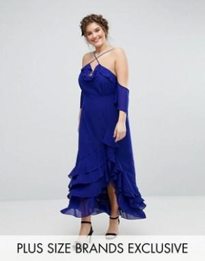 Truly You Элегантное платье макси с оборками. Цвет: синий