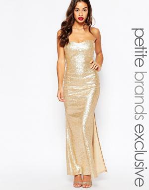 Lipstick Boutique Petite Расшитое пайетками длинное платье бандо. Цвет: золотой