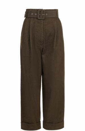 Укороченные джинсы с защипами и поясом Isa Arfen. Цвет: хаки