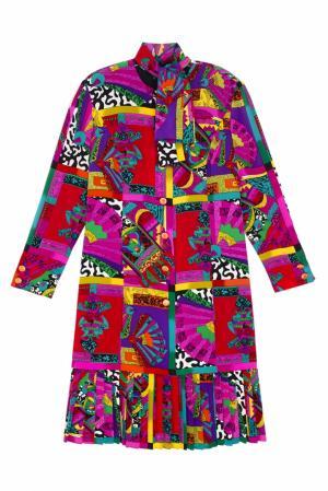 Платье винтажное Louis Feraud Vintage. Цвет: лиловый, горчичный