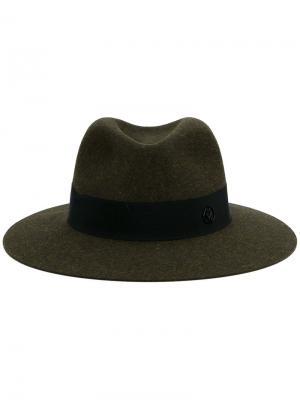 Фетровая шляпа Maison Michel. Цвет: зелёный