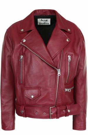 Кожаная куртка свободного кроя с косой молнией Acne Studios. Цвет: бордовый