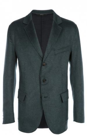 Однобортный пиджак из смеси шерсти и кашемира с шелком Brioni. Цвет: зеленый