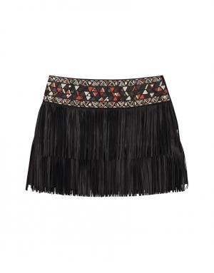 Кожаная юбка-мини с кабошонами Valentino. Цвет: черный
