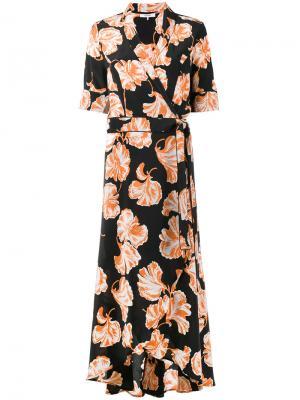 Платье с цветочным принтом Ganni. Цвет: чёрный